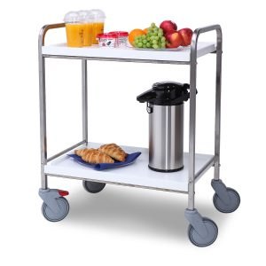 Service trolleys with wooden tiers